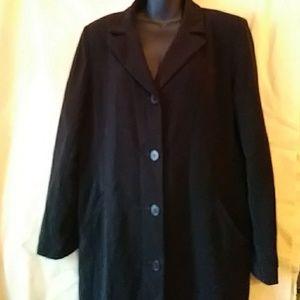 Gallery Petite lined black raincoat - sz 14P